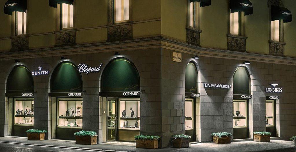 panoramica ingresso negozio cornaro gioielli bergamo gioielleria